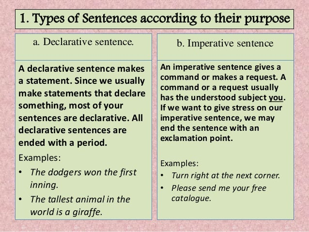 5 types of sentences