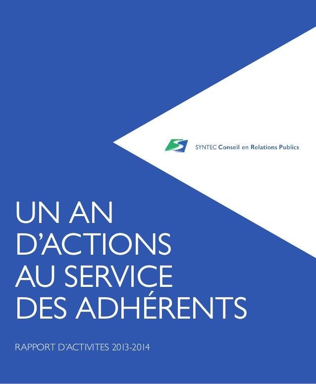UN AN D'ACTIONS AU SERVICE DES ADHÉRENTS RAPPORT D'ACTIVITES 2013-2014