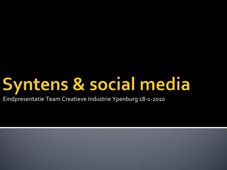 Eindpresentatie Team Creatieve Industrie Ypenburg 18-1-2010