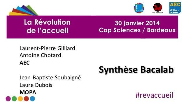 La Révolution de l'accueil Laurent-‐Pierre  Gilliard   Antoine  Chotard   AEC      Jean-‐Bap9ste  Soubaign...