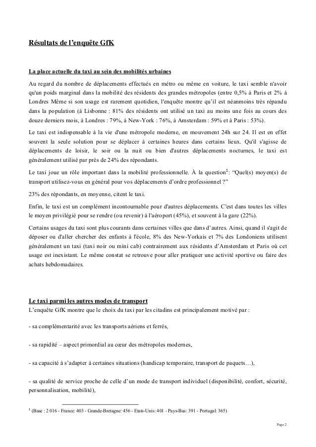 Page 2 Résultats de l'enquête GfK La place actuelle du taxi au sein des mobilités urbaines Au regard du nombre de déplacem...
