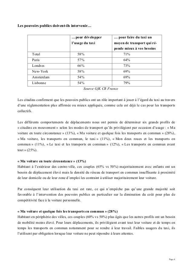 Page 4 Les pouvoirs publics doivent-ils intervenir… …pour développer l'usage du taxi … pour faire du taxi un moyen de tran...