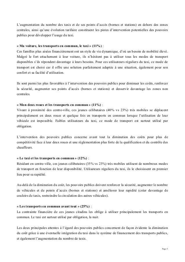 Page 5 L'augmentation du nombre des taxis et de ses points d'accès (bornes et stations) en dehors des zones centrales, ain...