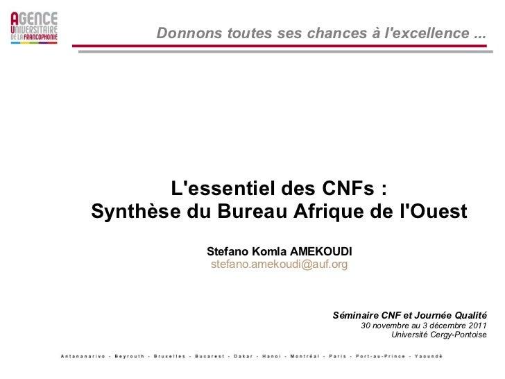 Donnons toutes ses chances à lexcellence ...       Lessentiel des CNFs :Synthèse du Bureau Afrique de lOuest            St...