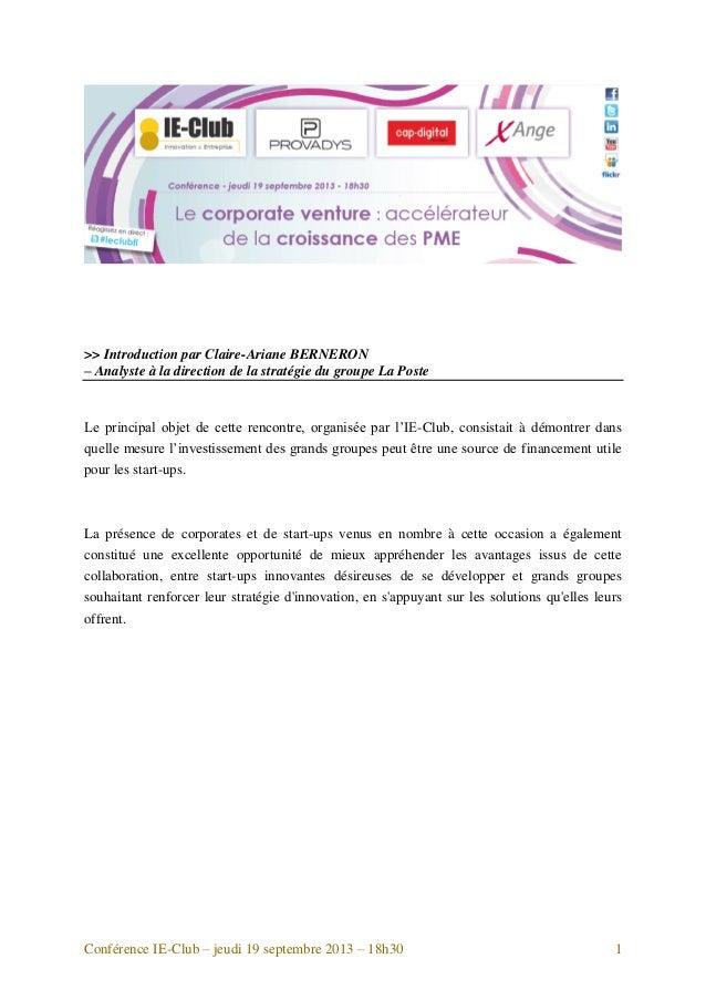 >> Introduction par Claire-Ariane BERNERON – Analyste à la direction de la stratégie du groupe La Poste  Le principal obje...