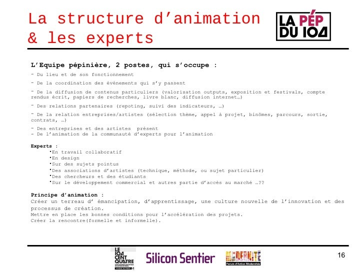 La structure d'animation & les experts <ul><li>L'Equipe pépinière, 2 postes, qui s'occupe :  </li></ul><ul><li>Du lieu et ...