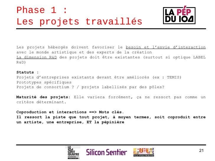 Phase 1 :  Les projets travaillés Les projets hébergés doivent favoriser le  besoin et l'envie d'interaction  avec le mond...