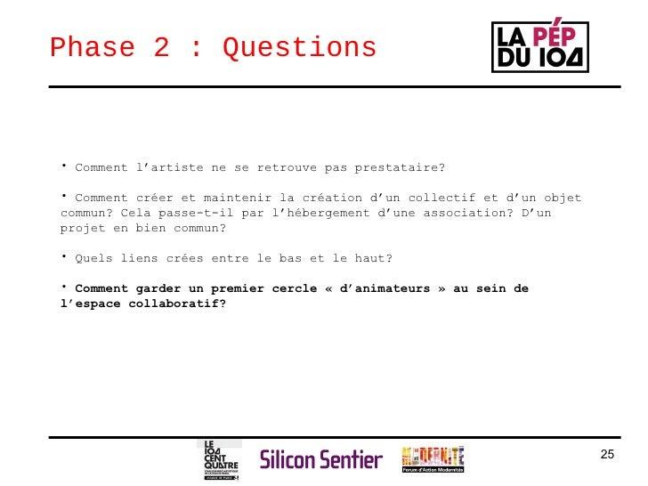 Phase 2 : Questions  <ul><ul><li>Comment l'artiste ne se retrouve pas prestataire? </li></ul></ul><ul><ul><li>Comment crée...