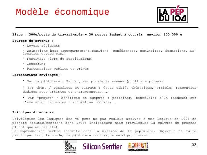 Modèle économique <ul><li>Place : 300e/poste de travail/mois - 30 postes Budget à couvrir  environ 300 000 e </li></ul><ul...