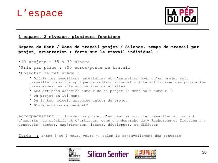 L'espace <ul><li>1 espace, 2 niveaux, plusieurs fonctions </li></ul><ul><li>Espace du Haut / Zone de travail projet / Sile...