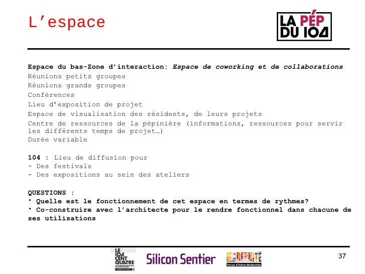 L'espace <ul><li>Espace du bas-Zone d'interaction:  Espace de coworking et de collaborations </li></ul><ul><li>Réunions pe...