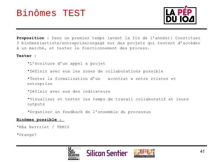 Bin ô mes TEST <ul><li>Proposition  : Dans un premier temps (avant la fin de l'année): Constituer 3 bin ômes(artiste/entre...