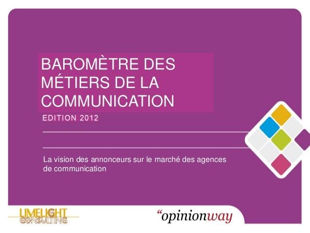 © LIMELIGHT – OPINIONWAY 2012 – REPRODUCTION INTERDITEMarché de la PublicitéBAROMÈTRE DESMÉTIERS DE LACOMMUNICATIONLa visi...