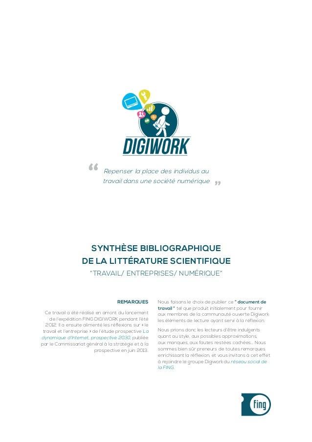 """Page 1  Repenser la place des individus au  """"  travail dans une société numérique  """"  Synthèse bibliographique de la litté..."""