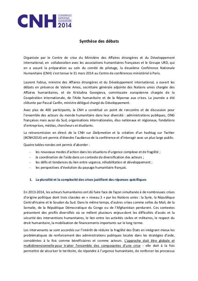 Synthèse des débats Organisée par le Centre de crise du Ministère des Affaires étrangères et du Développement internationa...