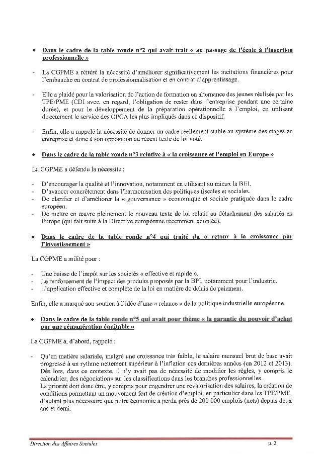 Synthèse commentaires de la CGPME suite à la Conférence Sociale _11-07-14 Slide 2