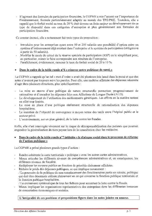 Synthèse commentaires de la CGPME suite à la Conférence Sociale _11-07-14 Slide 3