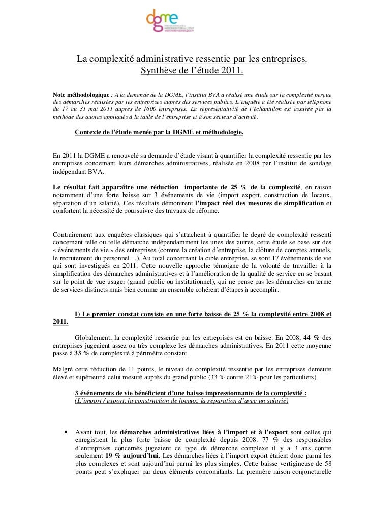 La complexité administrative ressentie par les entreprises.                        Synthèse de l'étude 2011.Note méthodolo...