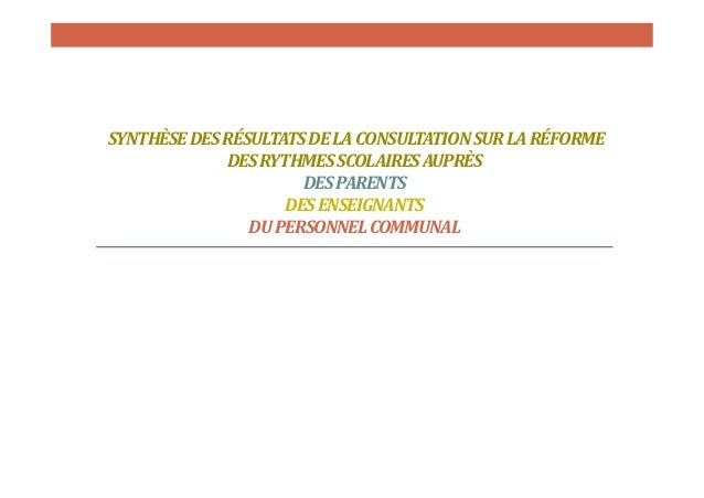 SYNTHÈSE DES RÉSULTATS DE LA CONSULTATION SUR LA RÉFORME DES RYTHMES SCOLAIRES AUPRÈS DES PARENTS DES ENSEIGNANTS DU PERSO...