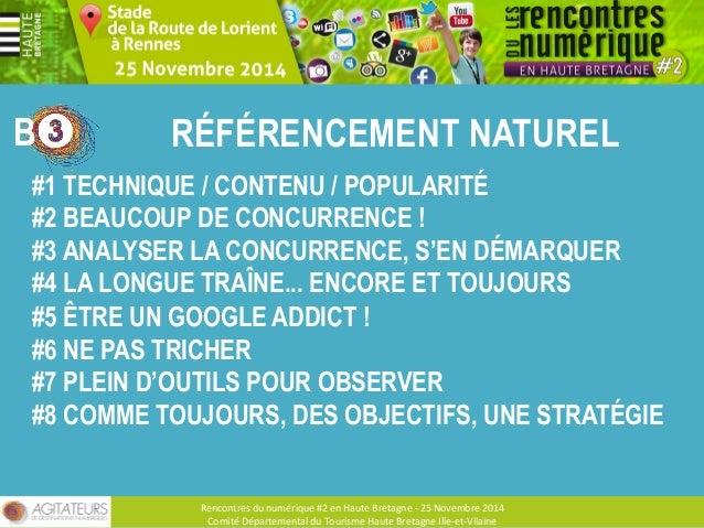 B ÉVITER LES PÉNALITÉS GOOGLE  Rencontres  du  numérique  #2  en  Haute  Bretagne  -‐  25  Novembre  2014  Comité  Départ...
