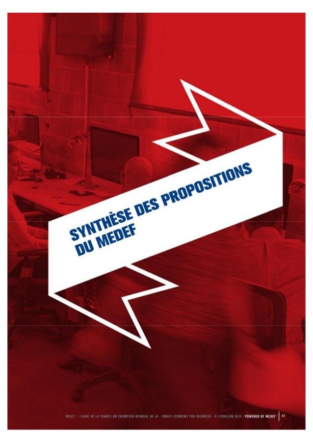 Synthese des propositions et actions du medef