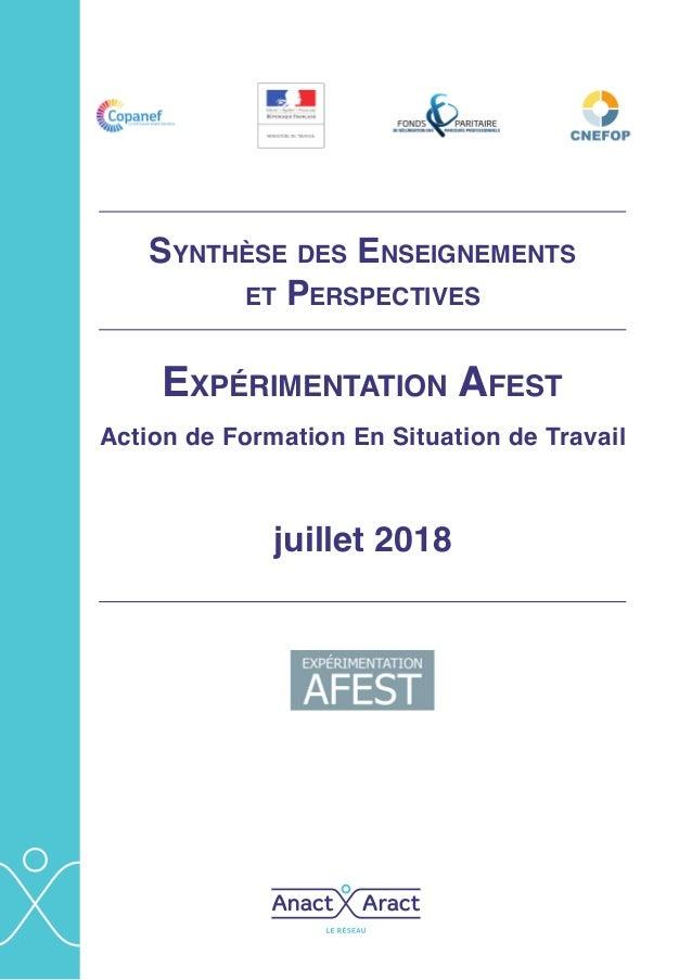 Expérimentation Afest Action de Formation En Situation de Travail juillet 2018 Synthèse des Enseignements et Perspectives