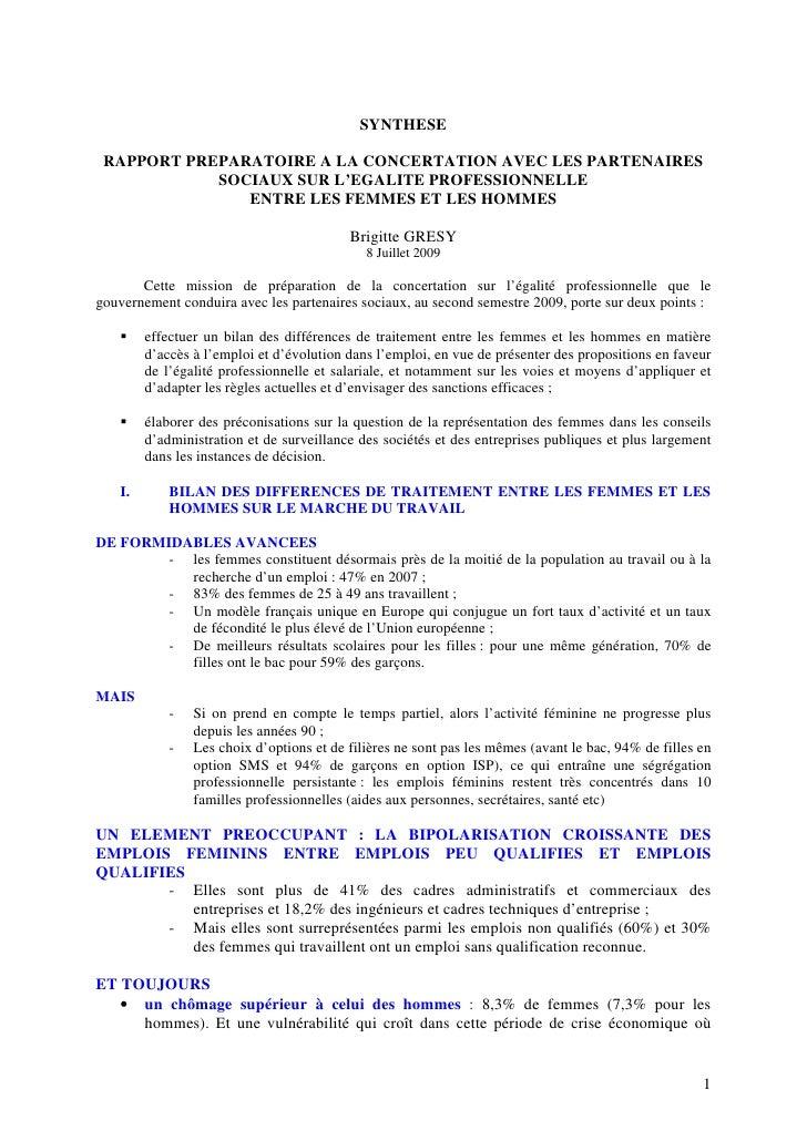 SYNTHESE   RAPPORT PREPARATOIRE A LA CONCERTATION AVEC LES PARTENAIRES             SOCIAUX SUR L'EGALITE PROFESSIONNELLE  ...