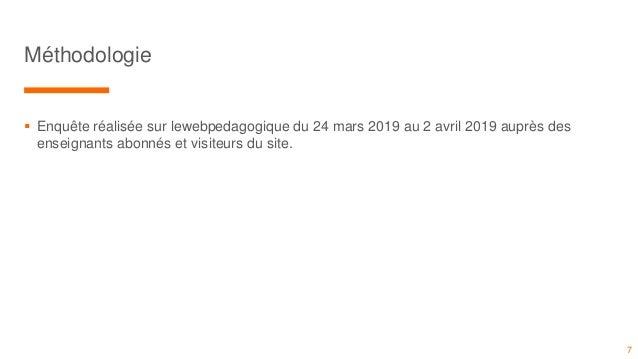  Enquête réalisée sur lewebpedagogique du 24 mars 2019 au 2 avril 2019 auprès des enseignants abonnés et visiteurs du sit...