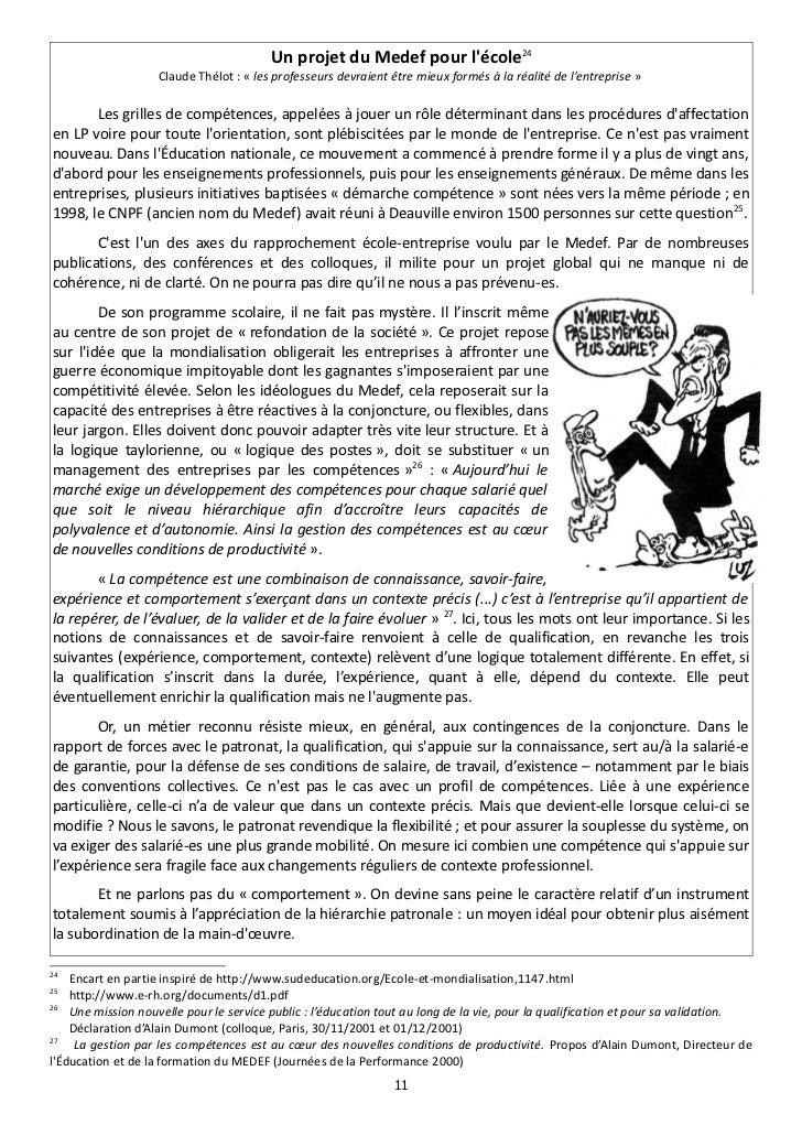 Un projet du Medef pour lécole24                    Claude Thélot : « les professeurs devraient être mieux formés à la réa...