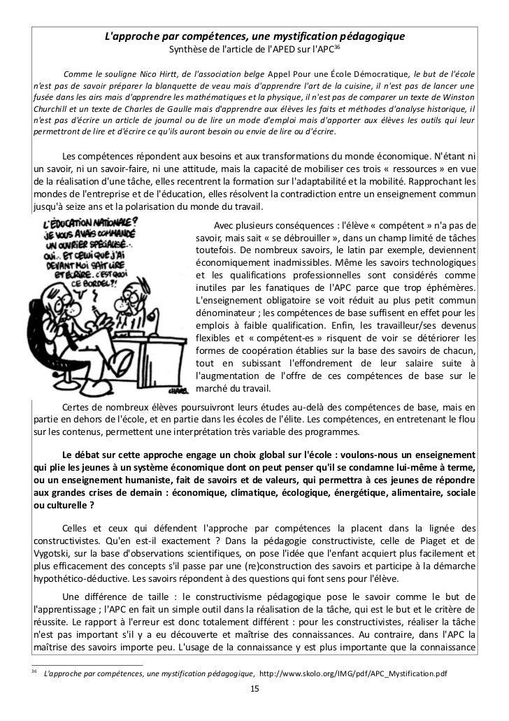 Lapproche par compétences, une mystification pédagogique                                      Synthèse de larticle de lAPE...