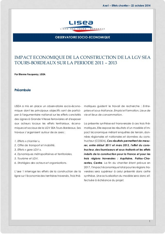 Axe1 – Effets chantier – 22 octobre 2014 1 IMPACT ECONOMIQUE DE LA CONSTRUCTION DE LA LGV SEA TOURS-BORDEAUX SUR LA PERIOD...