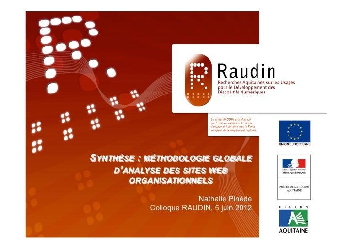 Programme de Recherche                     RAUDIN           SYNTHÈSE TITRE » RAUDIN,GLOBALE 2011                  « : MÉTH...