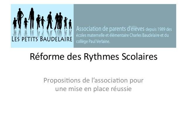 Réforme des Rythmes Scolaires Proposi5ons de l'associa5on pour une mise en place réussie