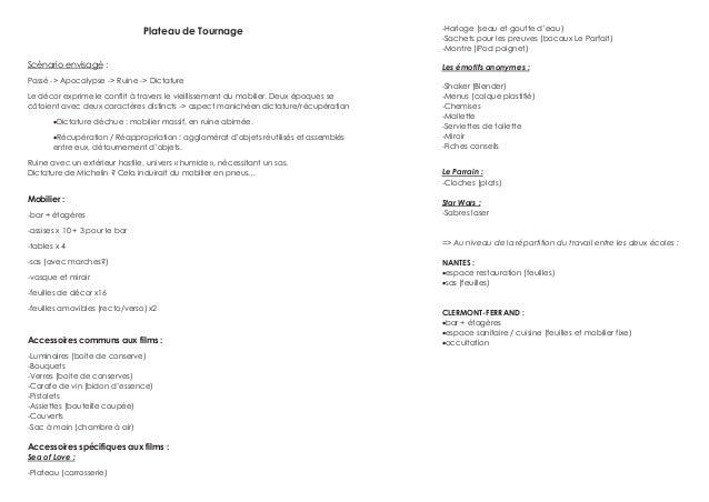 Plateau de Tournage Scénario envisagé : Passé -> Apocalypse -> Ruine -> Dictature Le décor exprime le conflit à travers le...
