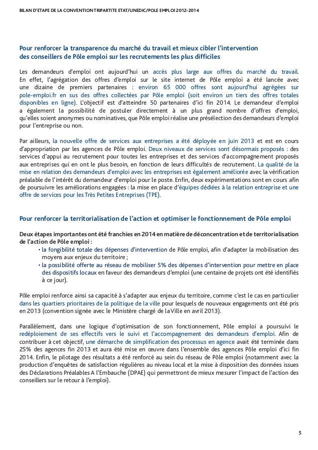 BILAN D'ETAPE DE LA CONVENTION TRIPARTITE ETAT/UNEDIC/POLE EMPLOI 2012-2014 5 Pour renforcer la transparence du marché du ...