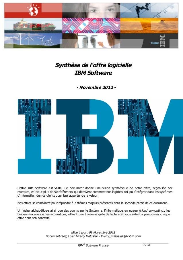 Synthèse de loffre logicielle                                  IBM Software                                            - N...