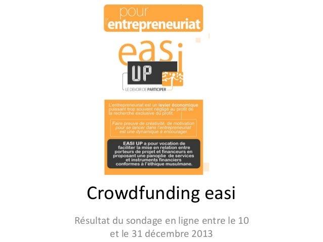 Crowdfunding easi Résultat du sondage en ligne entre le 10 et le 31 décembre 2013