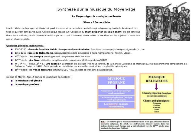 Synthèse sur la musique du Moyen-âge Le Moyen-Age : la musique médiévale 5ème - 15ème siècle Les dix siècles de l'époque m...