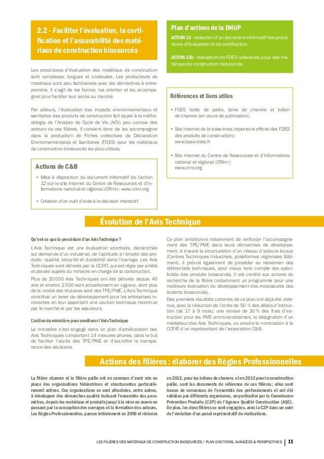 Les fili res des mat riaux de construction biosourc s plan d action - Materiaux de construction innovants ...