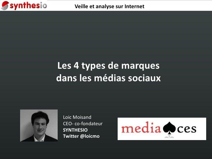 Veille et analyse sur Internet<br />Les 4 types de marques dans les médias sociaux<br />Loic Moisand<br />CEO- co-fondateu...