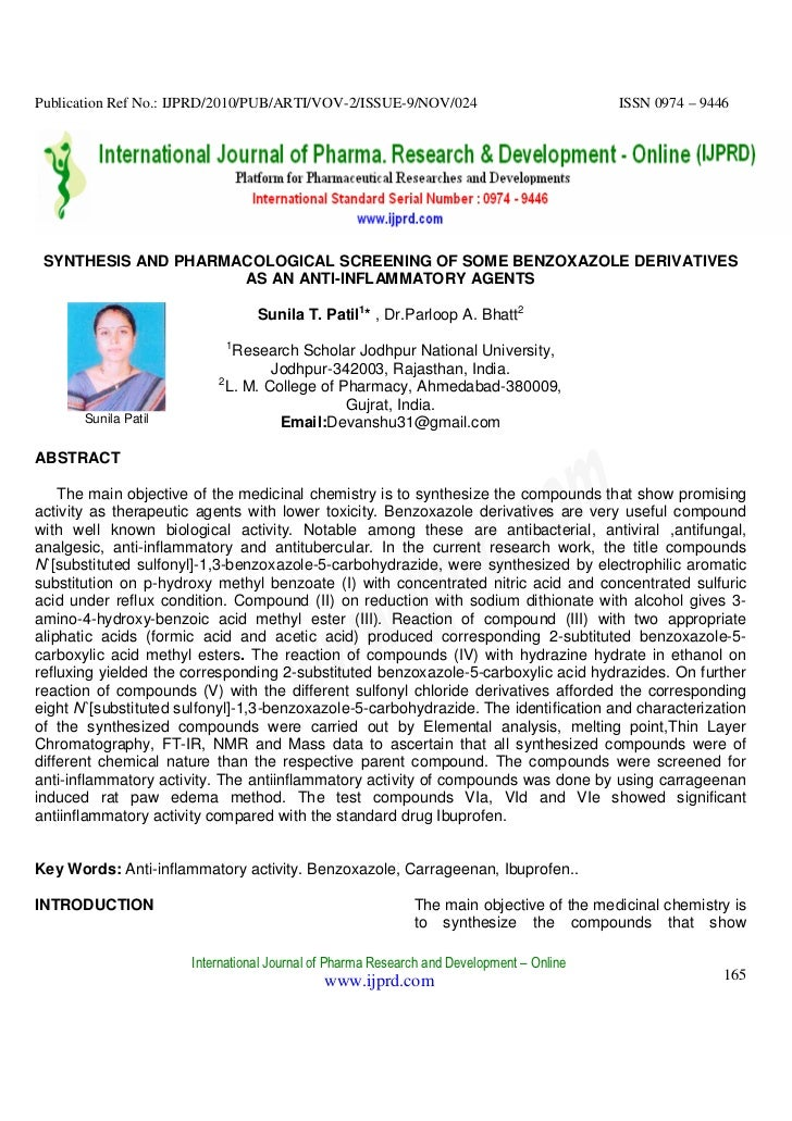 Publication Ref No.: IJPRD/2010/PUB/ARTI/VOV-2/ISSUE-9/NOV/024                            ISSN 0974 – 9446 SYNTHESIS AND P...