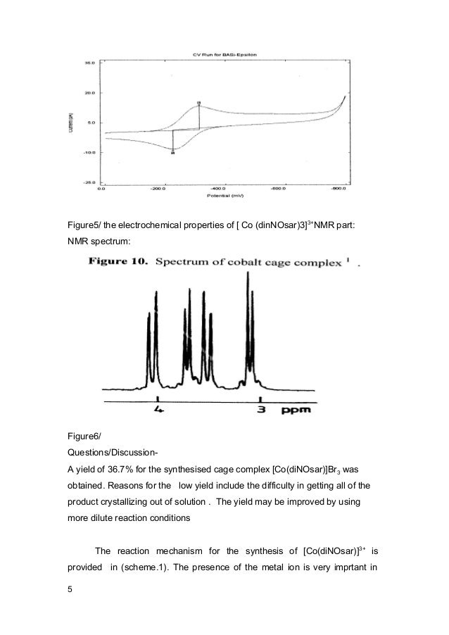Chemical Lab Report Synthesis And Properties Of A Cobalt