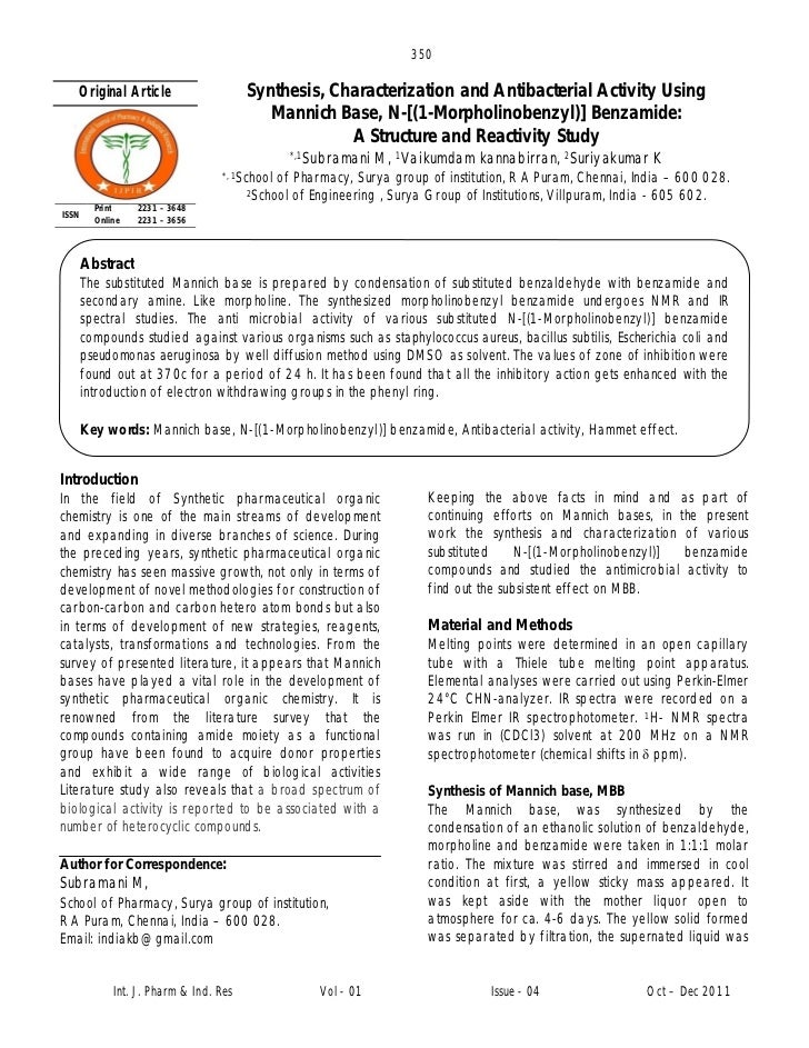 350   Original Article                     Synthesis, Characterization and Antibacterial Activity Using                   ...