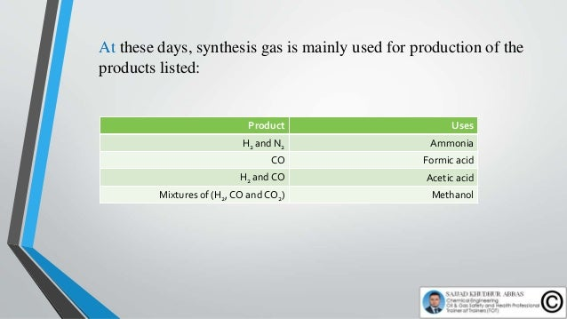 Production of Synthesis Gas from Hydrocarbons: In the production of synthesis gases from hydrocarbons, the components hydr...