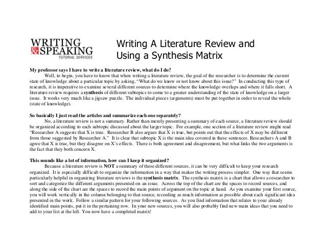 What should i do my literature review on