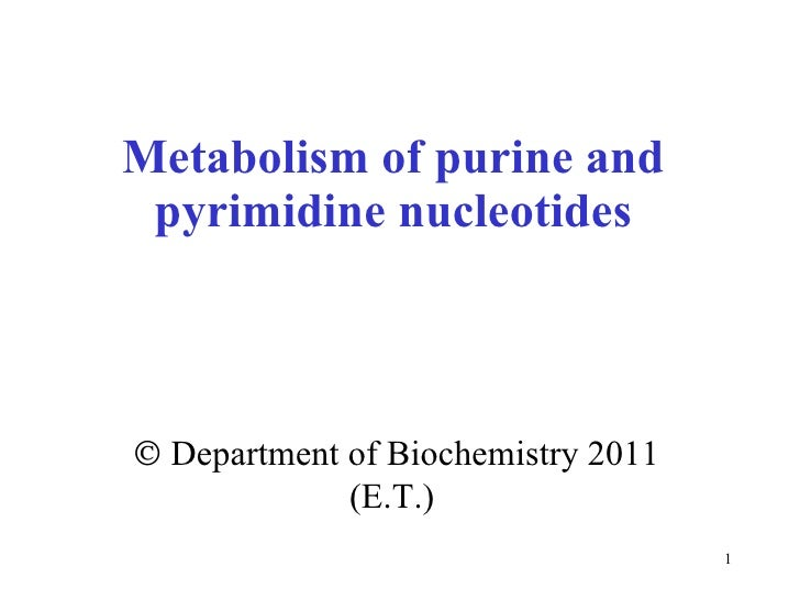 Metabolism of purine and pyrimidine nucleotides    Department of Biochemistry 2011 (E.T.)