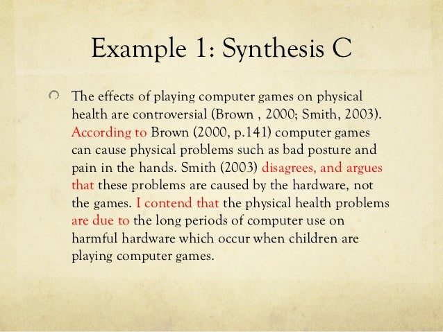 example 1 synthesis - Synthesis Example Essay
