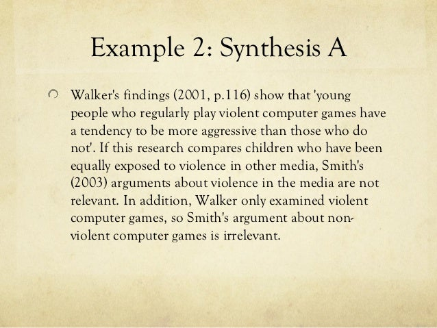 example 2 synthesis - Synthesis Example Essay