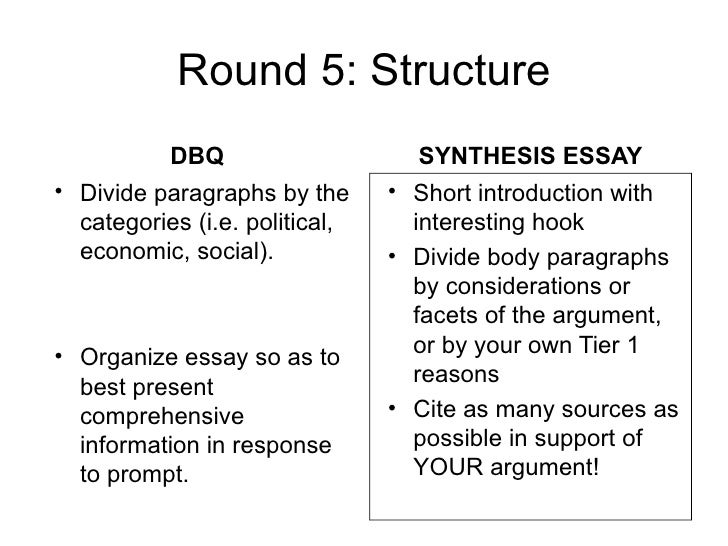 How To Write An Essay High School  Round  Structure Dbq Synthesis Essay  Good Health Essay also What Is A Thesis Of An Essay Synthesis Vs Dbq Essay About Learning English Language