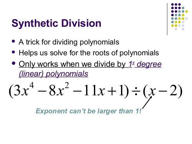 The Synthetic Divide Synthetic Divide Synthesize And Divide